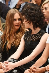 The glare of love Delevingne makes goggle eyes at St Vincent during a Burberry fashion show in September.
